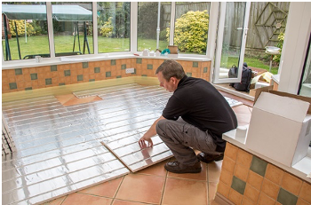 underfloor heating being laid